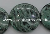 CPT333 15.5 inches 30mm flat round green picture jasper beads