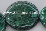 CPT335 15.5 inches 52mm flat round green picture jasper beads