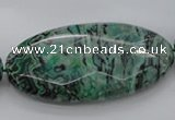 CPT341 15.5 inches 25*50mm faceted oval green picture jasper beads