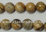 CPT504 15.5 inches 12mm faceted round picture jasper beads wholesale