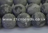 CPT574 15.5 inches 12mm round matte grey picture jasper beads