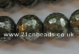 CPY109 15.5 inches 12mm faceted round pyrite gemstone beads wholesale