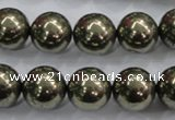 CPY26 16 inches 16mm round pyrite gemstone beads wholesale