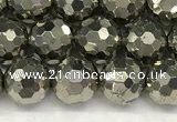 CPY266 15.5 inches 6mm faceted round pyrite gemstone beads
