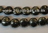 CPY301 15.5 inches 10mm flat round pyrite gemstone beads wholesale