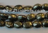 CPY32 16 inches 8*10mm oval pyrite gemstone beads wholesale
