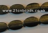 CPY334 15.5 inches 10*16mm twisted oval pyrite gemstone beads