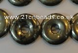 CPY340 15.5 inches 20mm donut pyrite gemstone beads wholesale