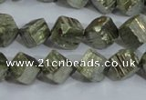 CPY411 15.5 inches 10*10mm faceted cube pyrite gemstone beads