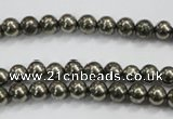 CPY46 16 inches 6mm round pyrite gemstone beads wholesale