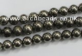 CPY47 16 inches 8mm round pyrite gemstone beads wholesale