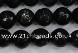 CPY502 15.5 inches 8mm faceted round natural chalcopyrite beads