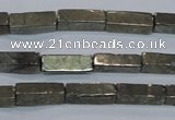 CPY592 15.5 inches 4*12mm cuboid pyrite gemstone beads