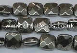 CPY637 15.5 inches 12*12mm faceted square pyrite gemstone beads