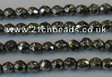 CPY73 15.5 inches 3mm faceted round pyrite gemstone beads wholesale