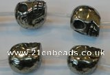 CPY88 15.5 inches 16mm carved skull pyrite gemstone beads wholesale