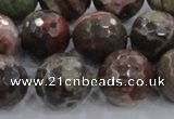 CRA106 15.5 inches 18mm faceted round rainforest agate beads