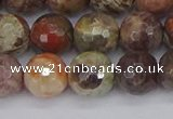 CRA163 15.5 inches 10mm faceted round rainforest agate beads