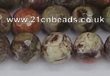 CRA164 15.5 inches 12mm faceted round rainforest agate beads