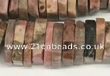 CRB1086 15.5 inches 5*20mm - 6*22mm faceted heishi rhodonite beads