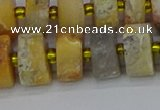 CRB1248 15.5 inches 7*14mm tyre matte crazy lace agate beads