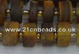 CRB1256 15.5 inches 8*16mm tyre matte yellow tiger eye beads