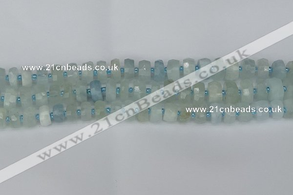 CRB1311 15.5 inches 6*10mm faceted rondelle aquamarine beads