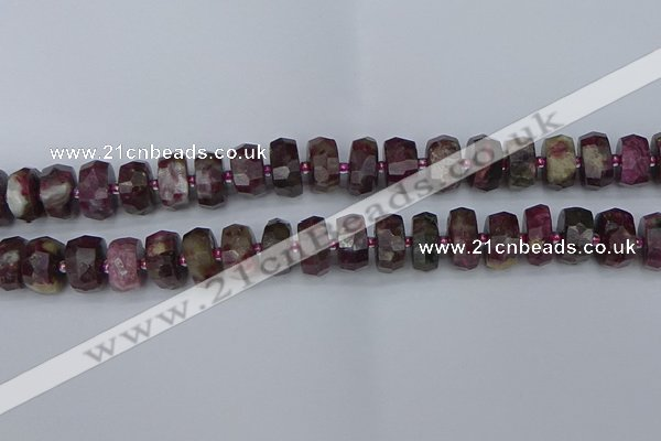 CRB1403 15.5 inches 7*14mm faceted rondelle tourmaline beads