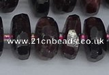 CRB1415 15.5 inches 8*18mm faceted rondelle red garnet beads