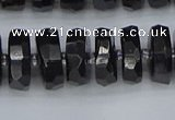 CRB1423 15.5 inches 7*14mm faceted rondelle black tourmaline beads