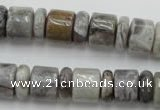 CRB143 15.5 inches 6*12mm & 10*12mm rondelle silver needle agate beads