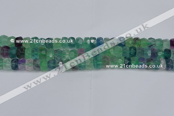 CRB1464 15.5 inches 5*8mm faceted rondelle fluorite beads