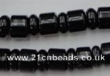 CRB151 15.5 inches 6*12mm & 10*12mm rondelle black agate beads