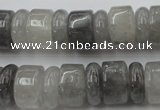 CRB180 15.5 inches 5*14mm – 10*14mm rondelle cloudy quartz beads