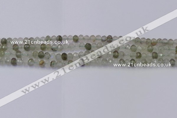 CRB1812 15.5 inches 4*6mm faceted rondelle green rutilated quartz beads
