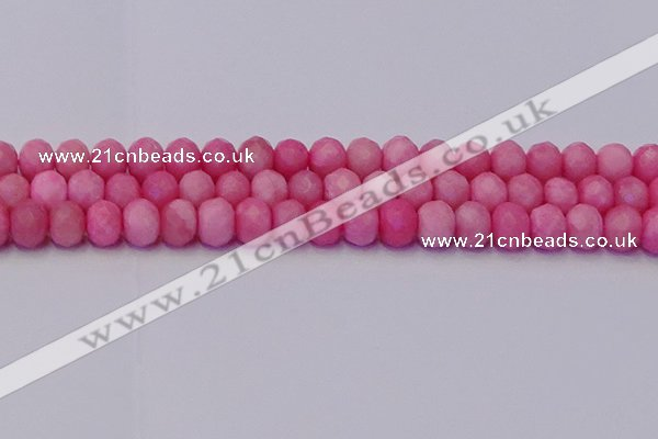 CRB1850 15.5 inches 6*10mm faceted rondelle pink opal beads