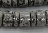 CRB196 15.5 inches 6*18mm – 13*18mm rondelle grey picture jasper beads