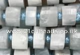 CRB2056 15.5 inches 9mm - 10mm faceted tyre aquamarine beads