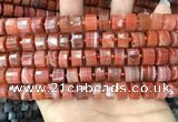 CRB2106 15.5 inches 9mm - 10mm faceted tyre red agate beads