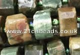 CRB2121 15.5 inches 9mm - 10mm faceted tyre rhyolite gemstone beads
