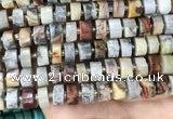 CRB2183 15.5 inches 13mm - 14mm faceted tyre crazy lace agate beads