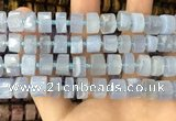 CRB2186 15.5 inches 9mm - 10mm faceted tyre blue chalcedony beads