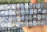 CRB2188 15.5 inches 11mm - 12mm faceted tyre blue chalcedony beads