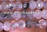 CRB2604 15.5 inches 2*3mm faceted rondelle black rutilated quartz beads