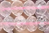 CRB3003 15.5 inches 8*10mm faceted rondelle rose quartz beads