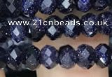 CRB3033 15.5 inches 4*6mm faceted rondelle blue goldstone beads