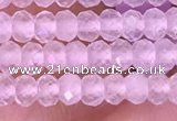 CRB3101 15.5 inches 2*3mm faceted rondelle tiny rose quartz beads