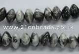 CRB41 15.5 inches 6*10mm rondelle black & white jasper beads