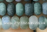 CRB5018 15.5 inches 4*6mm rondelle matte moss agate beads wholesale