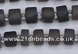 CRB512 15.5 inches 5*8mm tyre matte ice black obsidian beads